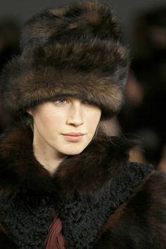 Shearling Russian style hat with  coordinating capelet in long haired shearling and curly lamb @ Ralph Lauren ~