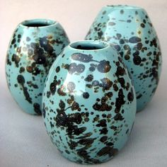 Porcelain Robins Egg Vase Trio - These were my first big seller