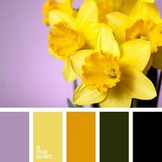 amarillo y verde, amarillo y violeta, colores de diseño, combinación contrastante del amarillo y violeta, combinaciones de colores primaverales, de color violeta, elección del color, elección del color para hacer una reforma, negro y verde, paletas de diseño, verde, verde y