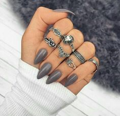 Are you looking for acrylic stiletto nails art designs that are excellent for this summer? See our collection full of acrylic stiletto nails art designs ideas and get inspired! Gray Nails, Matte Nails, Black Nails, Acrylic Nail Designs, Nail Art Designs, Nails Design, How To Do Nails, Fun Nails, Diva Nails