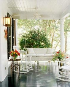 Cute Idea:   Id want a swing on one side of the porch and rocking chairs on the other!