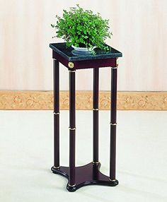 Coaster Green Snack Table / Plant Stand, Marble Top with A Cherry Finish Base, Square