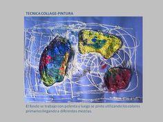 ema: Libre Autor: Ezequiel Edad: 3 años Tecnica: Collage-Pintura. Se utilizo para el fondo polenta y luego se pinto con temperas utilizando los colores primarios y obteniendo diferentes mezclas. En los bordes se utilizo lana. Soporte: cartulina de color.