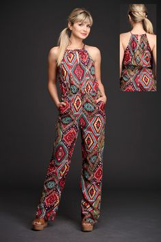 Found this beautiful jumpsuits. The patters looks very unique and looks elegants. Boho Outfits, Dress Outfits, Casual Outfits, Fashion Outfits, Jumpsuit Outfit, Casual Jumpsuit, Iranian Women Fashion, African Fashion Dresses, Cute Summer Outfits
