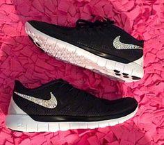 d53a07feeff Over Half Off 2017 NIKE Free 5.0 Run Shoes w Swarovski Crystal Detail Coal  Black White
