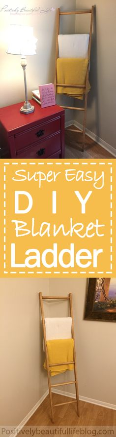 An easy and inexpensive doable DIY ladder project to hand up your blankets or to put decor on.