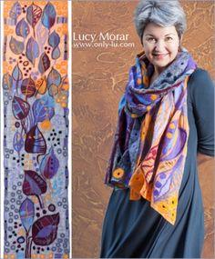 """Autumn Salute"" Nuno Felt Art Scarf by Lucy Morar"