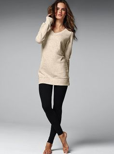 long, lean tunic sweater and leggings with boots. Love it ...