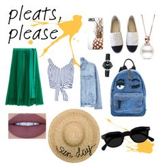 Pleats, please by myllenamorenaguerra on Polyvore featuring polyvore, fashion, style, WithChic, MANGO, H&M, Chanel, Chiara Ferragni, Movado, Eugenia Kim, Jeffree Star and clothing