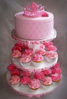Princess cake and cupcakes with name made into the tiara!