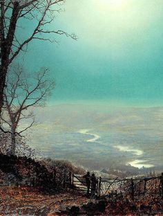 A Wet Road By Moonlight by John Atkinson Grimshaw, 1860s.