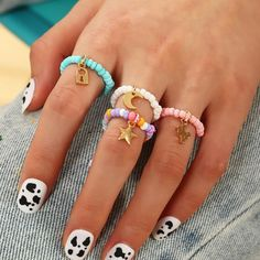 Beaded Rings, Beaded Bracelets, Set Fashion, Girls Jewelry, Ring Finger, Charm Jewelry, Vogue, Victoria, Moon