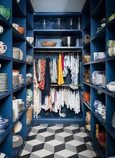 pantry organization ideas How to Bring Beauty into Your Homes Most Utilitarian Spaces Utility Closet, Pantry Closet, Pantry Storage, Pantry Organization, Closet Storage, Kitchen Pantry, Kitchen Storage, Closet Space, Plate Storage