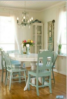 White table, blue chairs. Love the country vibe