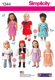 Sewing Pattern Simplicity 1344 Free Us Ship Doll Clothes Wardrobe Costume New Fits American Girl Out of Print Uncut New by LanetzLiving on Etsy Doll Sewing Patterns, Sewing Dolls, Simplicity Sewing Patterns, Doll Clothes Patterns, Clothing Patterns, Dress Patterns, Fashion Patterns, Pattern Sewing, Craft Patterns