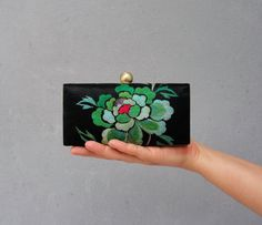 Floral Embroidery Box Clutch Purse  Clamshell Clutch by StarBags #clutch #bag #embroidery