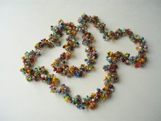 Handmade crocheted glass bead necklace by HoneybeedDesigns on Etsy, $38.00