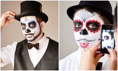 Need some inspiration for me painting Kelvin's sugar skull makeup!  Look back at this Tyra!!!........Day of the Dead Makeup Tutorial for Guys