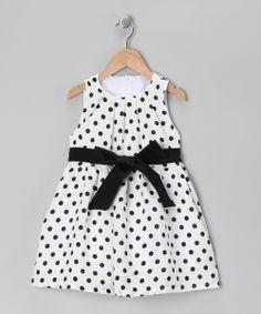 Black & White Polka Dot Dress - Girls