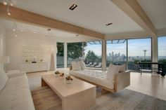 Contemporary Living Room -with  an iconic view of the Space Needle