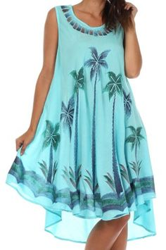 Sakkas 117 Watercolor Palm Tree Tank Caftan Short Dress - Turquoise / One Size Sakkas,http://www.amazon.com/dp/B00EJXALU8/ref=cm_sw_r_pi_dp_GseKsb0JQ4719KFA