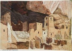 Life on the Mesa by Mary Ann Hildebrand (Texas).  Photo by Quilt Inspiration: Tiny Houses and Miniature Landscape Quilts