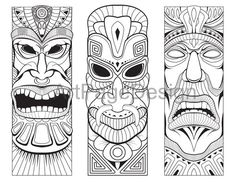 an idol, deity. Coloring pages for adults. Tiki Tattoo, Hawaiianisches Tattoo, Totem Tattoo, Tiki Maske, Hannya Maske, Art Plastic, Tiki Faces, Tiki Head, Tiki Statues