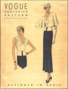 1930s Paris Couturier Design Sewing Pattern - Vogue #231