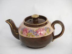 vintage English pottery tea pots big & small, flower band pattern pink & white