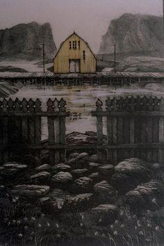 Travel Landscapes - Eva Harr 1983 Norwegian b.1951- Lithograph, 38x25.5cm Hawaiian, Scandinavian, Greek, Jr, Salmon, Mixed Media, Landscapes, Chairs, Pictures