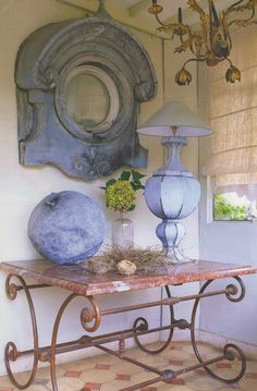 French tin window turned into a large mirror and French pastry table...