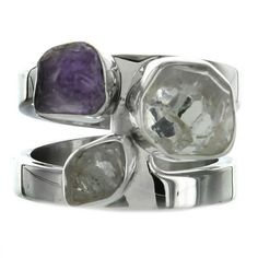 Sterling Silver Herkimer Diamond & Amethyst Two Row Ring by Lilly Barrack - Fire and Ice