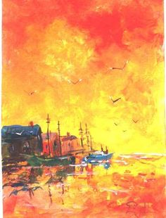 """Painted in todays art class I teach at A. C. Moore.  A 5""""x7' acrylic painting of a sunrise in a harbor."""