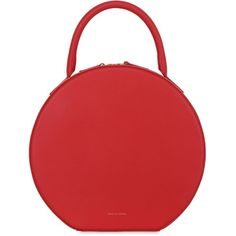 Mansur Gavriel Women Circle Leather Top Handle Bag ($1,300) ❤ liked on Polyvore featuring bags, handbags, fiamma red, circle purse, red purse, top handle leather handbags, mansur gavriel handbags and zipper bag