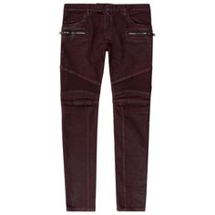 Balmain Waxed Biker Jeans ($1,065) ❤ liked on Polyvore featuring mens, men's clothing and men's jeans
