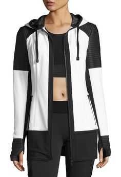 """Nighthawk Quilted-Panel Long-Line Hoodie by BLANC NOIR. Blanc Noir """"Nighthawk"""" French terry hoodie with contrast quilted scuba panels. Approx. 29""""L down center back, from hi..."""