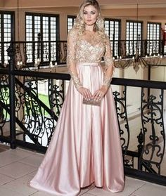 Amazing Crew Long Evening Gown with Sleeves Appliques Pink Prom Dress – ericprom Gala Dresses, Satin Dresses, Elegant Dresses, Sexy Dresses, Beautiful Dresses, Formal Dresses, Evening Gowns With Sleeves, Long Evening Gowns, Costume Marie Bleu