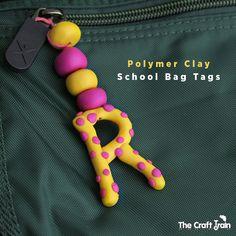 Polymer clay school bag tags
