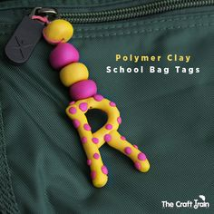 Polymer clay school bag tags