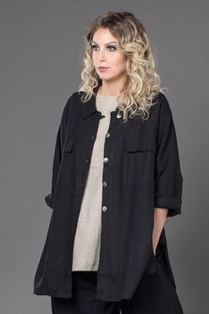 Linen jacket by Kaliyana, Shown w/ S/S Basic Top and Palazzo Pant