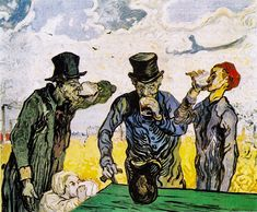 "The Drinkers (after Daumier) -  February 1890, Saint-Rémy -  Vincent drank too much alcohol: ""... the only thing to bring ease and distraction, in my case and other people's too, is to stun oneself with a lot of drinking or heavy smoking. (Letter from Vincent van Gogh to Theo van Gogh, June 29, 1888). Daumier's Drinkers simply reminded him of his own excesses in Paris and Arles"