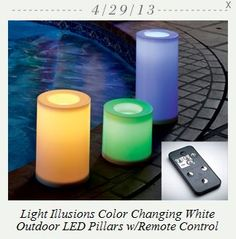 (WOW (Retail $154) PARTYLITE'S 40TH ANNIVERSARY SWEEPSTAKES TODAY'S PRIZE.... Light Illusions Color Changing White Outdoor LED Pillar with Remote. enter FREE to win at www.partylite.biz/rifermarbiz