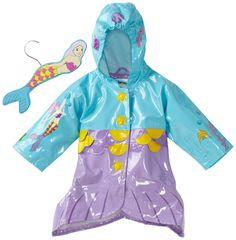 Kidorable Mermaid Raincoat (Aqua blue) Mermaid-themed design, elasticized hood, snap closure, fin shaped hem Kids