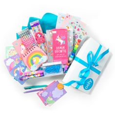 Unicorn Write Stuff Gift Set with unicorn themed stationery kit, pastel scented gel pens, no.2 graphite pencils, multi pen, click eraser and a set of stacking crayons