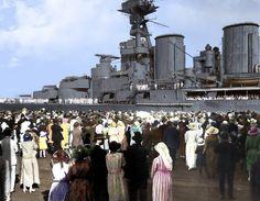 Colourised photo of HMS Hood during the 1924 world cruise Adolf Galland, Hms Hood, Marina Real, Hms Prince Of Wales, World Cruise, Uss Arizona, Merchant Marine, Naval History, Royal Marines