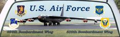 Joe's US Air Force 2nd Air Force 494th Bombardment Wing and The 8th Air Force 509th Bombardment Wing Rear Window Graphic Mural honoring his service in both wings.