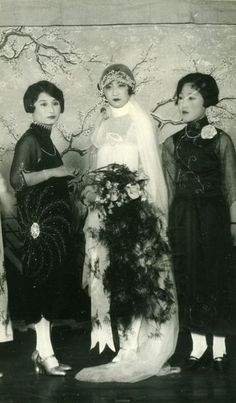 Bride and bridesmaids, early 1920s, China. By John D. Zumbrun Photography of China