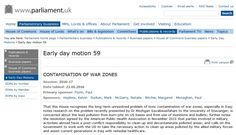 """Recent UK House of Commons EDM: """"Contamination of War Zones - That this House recognises the long-term unresolved problem of toxic contamination of war zones, especially in Iraq... is concerned about the lead pollution from burn-pits on US bases and from use of munitions and bullets..."""" War zones are left with toxic environmental contaminants that affect humans and entire ecosystems for many years. #Imperialism #BirthDefects #Cancer"""
