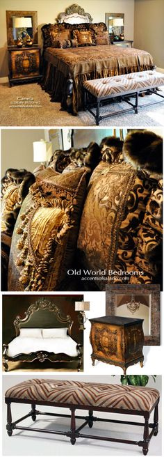 How to Furnish an Old World Bedroom: Hand Carved Bed with Tall Headboard.. Luxury Bedding.. Hand Painted Side Chests.. Iron Frame Mirror.. Unique Metal Lamps and a Tufted Bench. Voila!