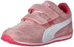 PUMA Steeple All-Over Glitter V Sneaker,Salmon Rose/White/Beetroot Purple,4 M US Toddler